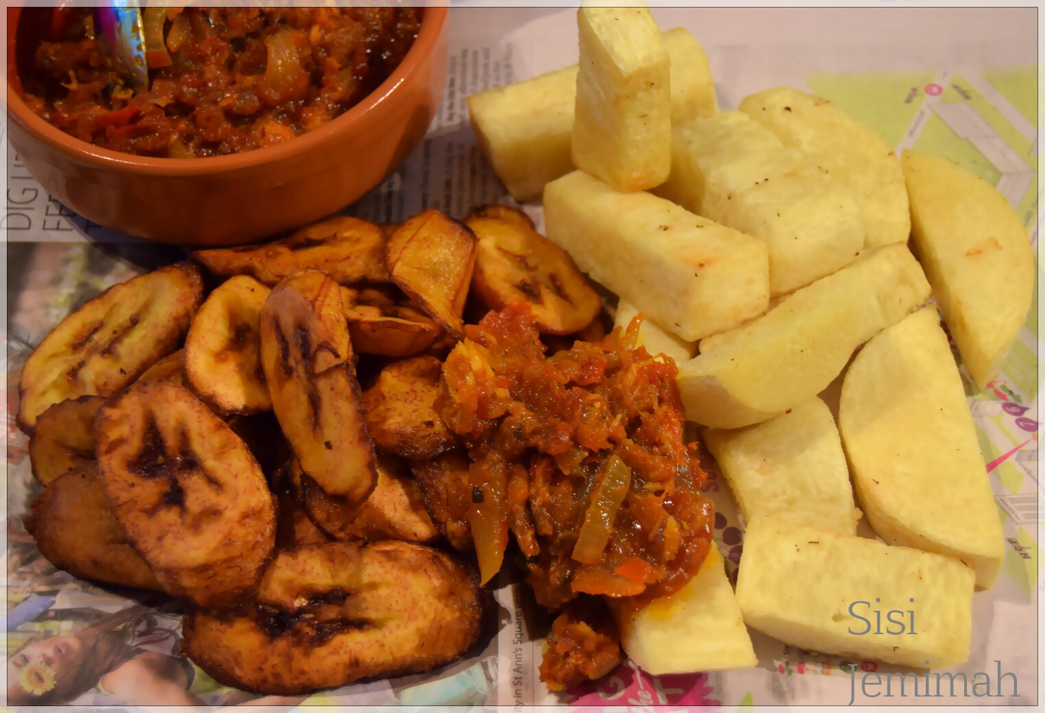 Fried yam Dundun and ATa Dindin