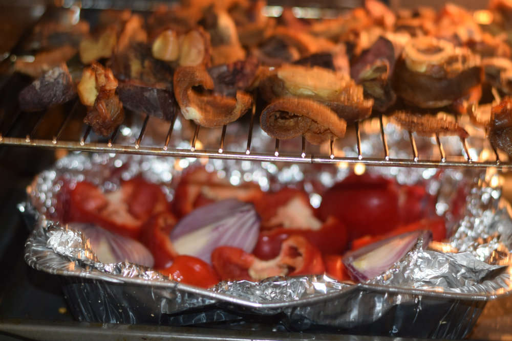 Roasted meats and peppers for Ofada stew