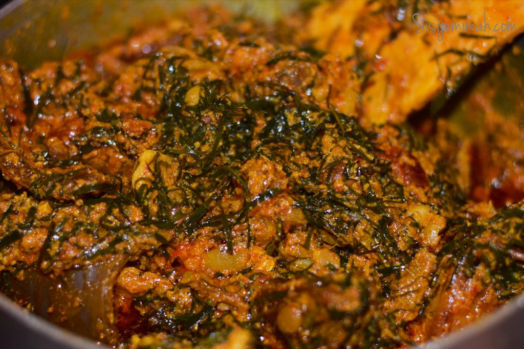 Egusi soup with Okazi